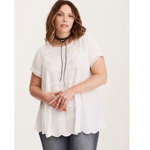 NWT torrid embroidered challis scalloped white top
